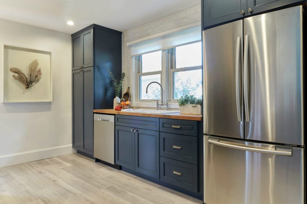 Kitchen Trend Navy Blue Cabinets, Navy Blue Kitchen Cabinets With Butcher Block Countertops