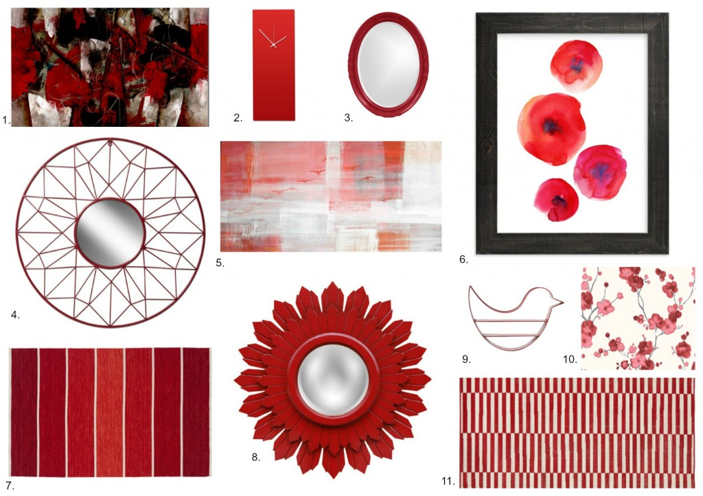 Red Accessories for Floors and Walls